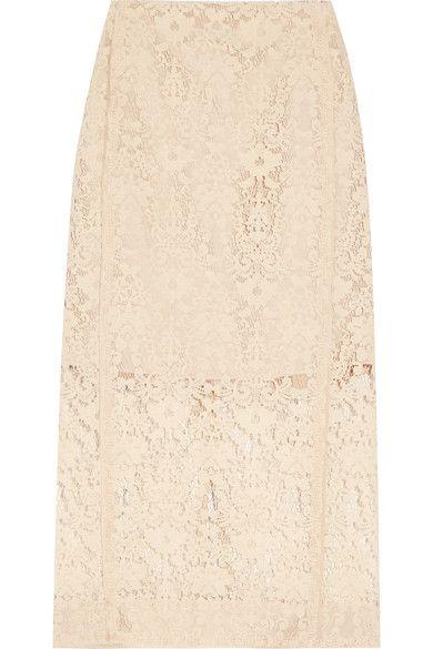 DKNY - Flocked Lace Pencil Skirt - Cream - US