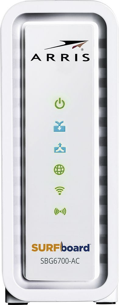 Arris - SURFboard AC1600 Dual-Band Router with Docsis 3.0 Cable Modem - White, SBG6700AC