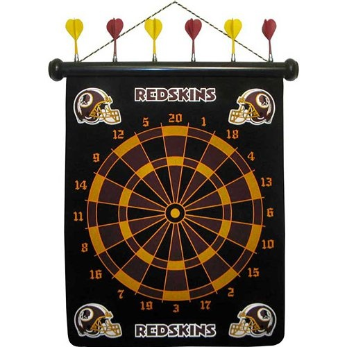Washington Redskins Magnetic Darts: These magnetic dart boards offer all the fun and playability of regular darts with none of the damage to the wall surrounding the dart board! The game includes a magnetic hanging gameboard and 6 magnetic darts (3 of each 2 colors).  $29.99  http://calendars.com/Washington-Redskins/Washington-Redskins-Magnetic-Darts/prod1289077/?categoryId=cat00512=cat00512#