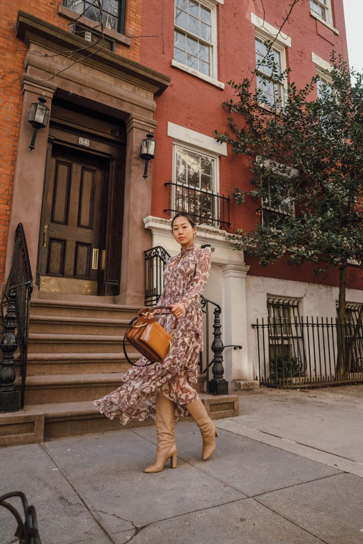 Floral Dress with a Shearling Jacket for Meetings during NYFW | Song of Style