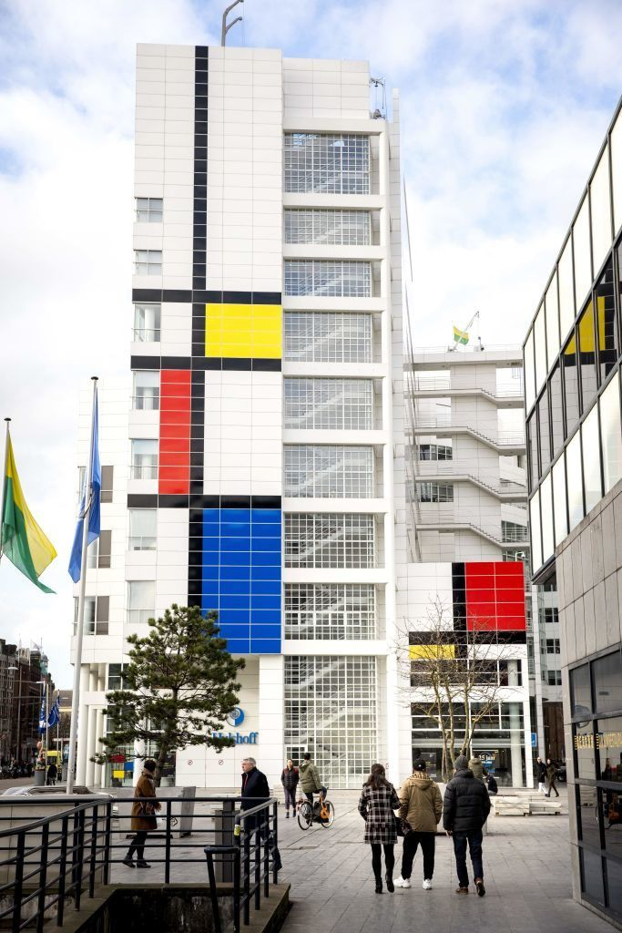 """The City Hall in The Hague with its facade decorated with what Dutch officials describe as """"the largest Mondrian painting in the world."""" Photo courtesy JERRY LAMPEN/AFP/Getty Images. / https://news.artnet.com/art-world/hague-100-years-de-stijl-mondrian-847685?utm_campaign=artnetnews&utm_source=020717daily&utm_medium=email&utm_term=artnet%20News%20-%20European%20List%20Only"""