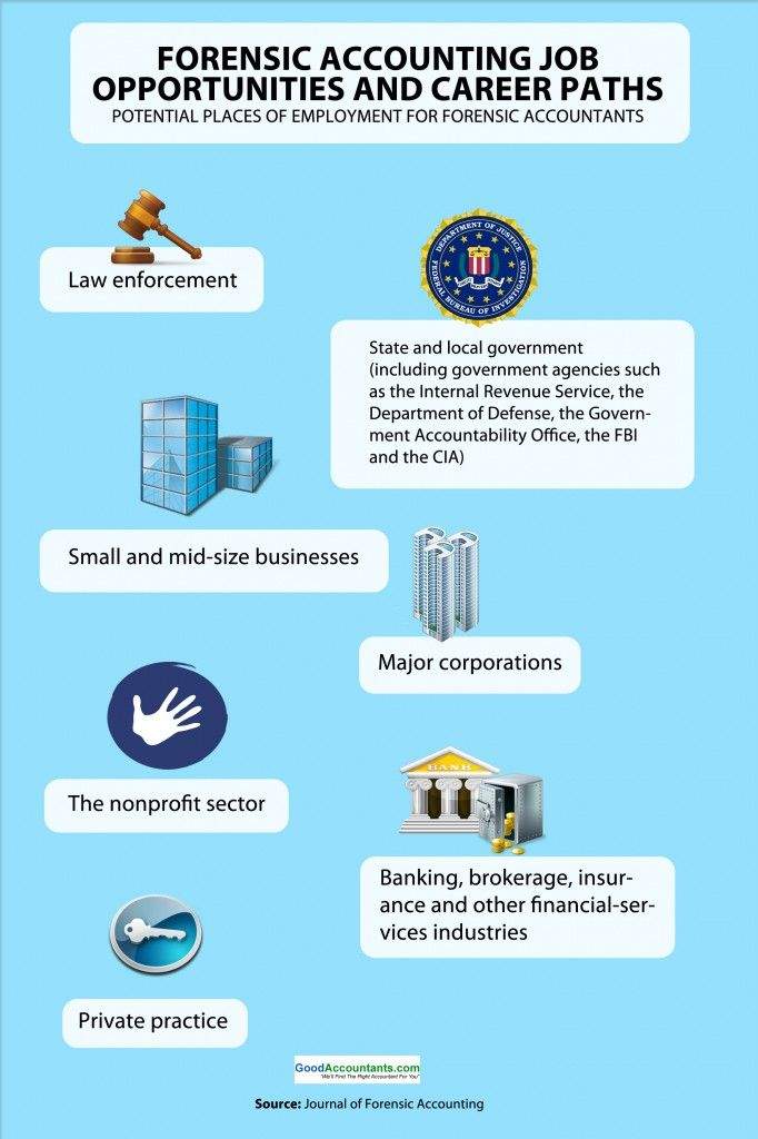 Forensic Accounting Job Opportunities – Infographic. Forensic Accounting – Potential Places of Employment http://www.goodaccountants.com/blog/2012/10/forensic-accounting-job-opportunities-infographic/