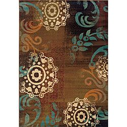 Brown/ Blue Transitional Area Rug (5' x 7'6)