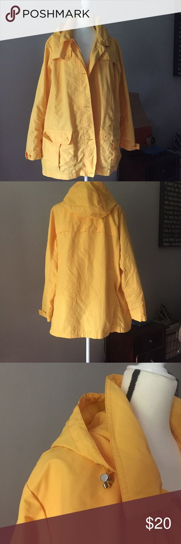 Lands End lined yellow jacket Cute yellow jacket from Lands End, lightweight and breathable. Light mesh lining and inside pocket. Zips and buttons. Hood. This would be perfect for a drizzly day, but not a rain storm ⛈ label has been cut because it's from the outlet. Fun timeless piece! Lands' End Jackets & Coats Utility Jackets