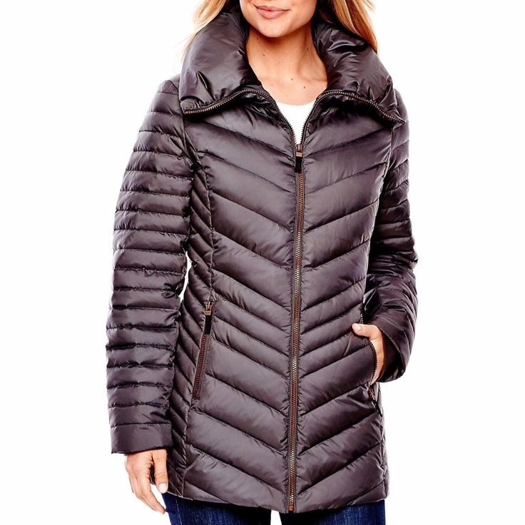 a n a Womens Puffer Coat Down Feather Steel Solid Zipper Front size M L NEW  39.99 https://www.ebay.com/itm/263296017044
