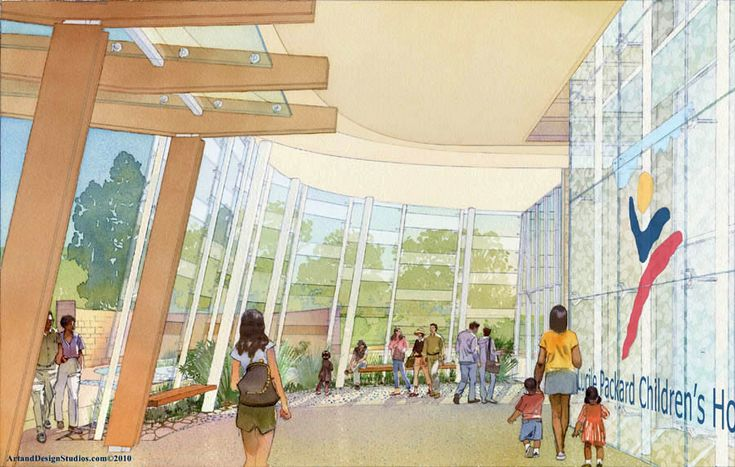 architectural illustration - healtcare - Children's Hospital, Stanford University