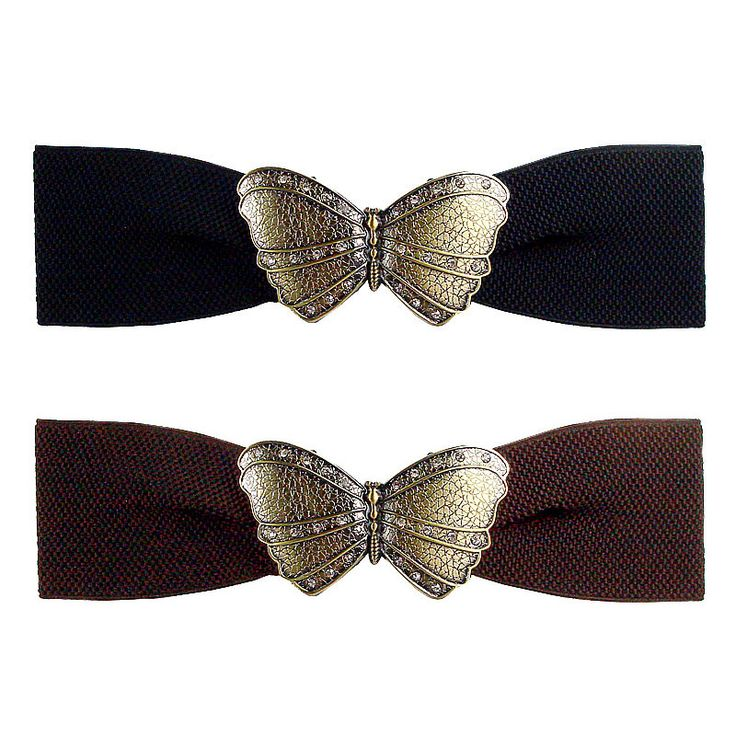 Elasticated belt with metallic butterfly buckle