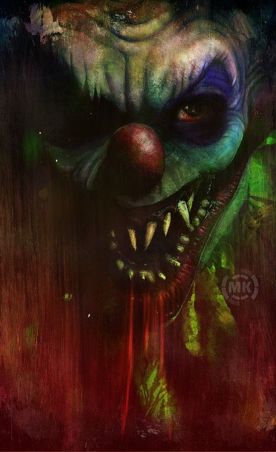 17 Best images about **Evil Clowns** on Pinterest | Scary ... |Creepy Clown Painting