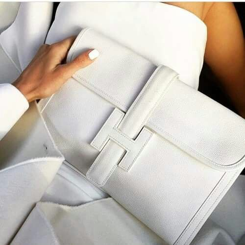 White Hermès Jige Clutch