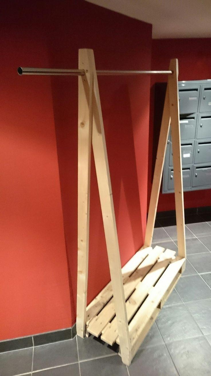 penderie en palette bois et métal industriel