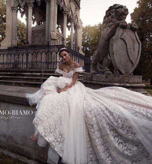 Wedding dress Lelei by Blammo-Biamo. Off-shoulder ball gown princess royal wedding dress. Ship worldwide. Based in Vancouver, Canada.