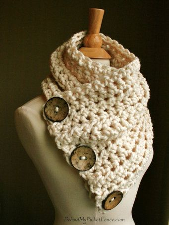 Christmas Delivery in USA - The Original BOSTON HARBOR Scarf - Warm, soft & stylish scarf with 3 large coconut buttons - Cream