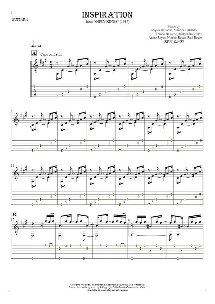 Inspiration sheet music by Gipsy Kings. From album Gipsy Kings (1987). Part: Notes and tablature for guitar - guitar 1 part.