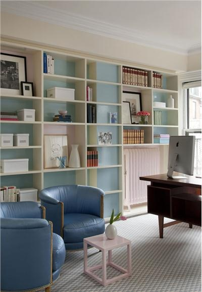 Home office with hints of blue by William Ruhl & Bradford Walker