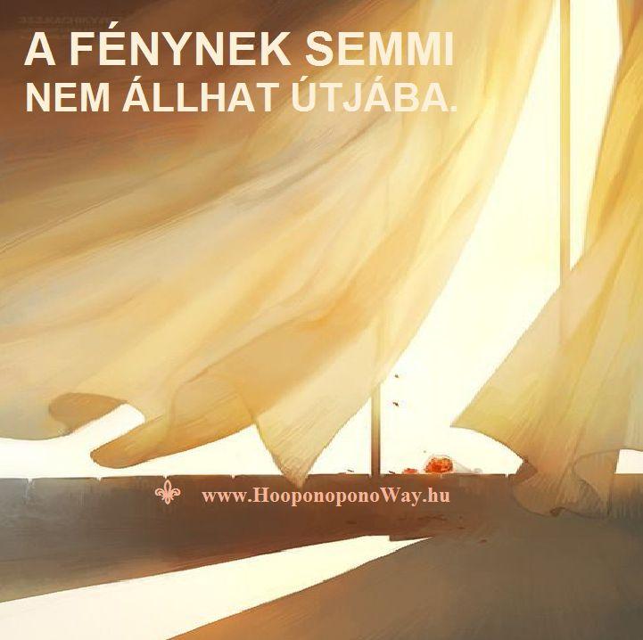 Hálát adok a mai napért. A Fénynek semmi nem állhat útjába. Fény nem tesz különbséget. Ha árnyékot vet, tanít. Tanítása örök. Kövesd. Így szeretlek, Élet! Köszönöm. Szeretlek ❤️ ⚜ Ho'oponoponoWay Magyarország ⚜ www.HooponoponoWay.hu