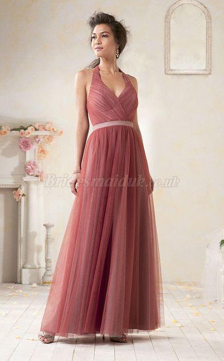 Long Tulle Halter Bridesmaid Dress in Bridesmaid Dresses