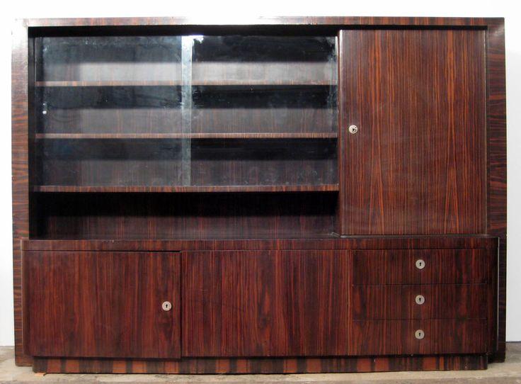 Art Deko Highboard  Epoche : Art Deco Holzart : Makassar Maße : Höhe 163 cm, Breite 231 cm, Tiefe 56 cm Kennung : Nr. 466