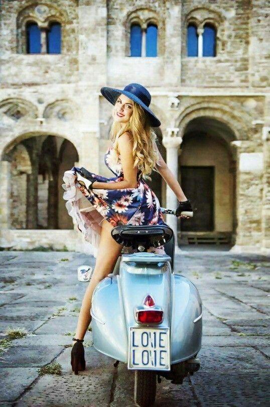 Stylish scooter rider
