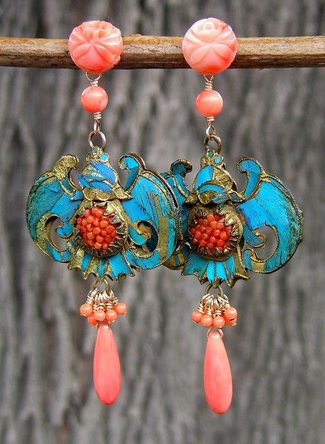 Vintage coral roses paired with antique, Chinese, Kingfisher Feather medallions....