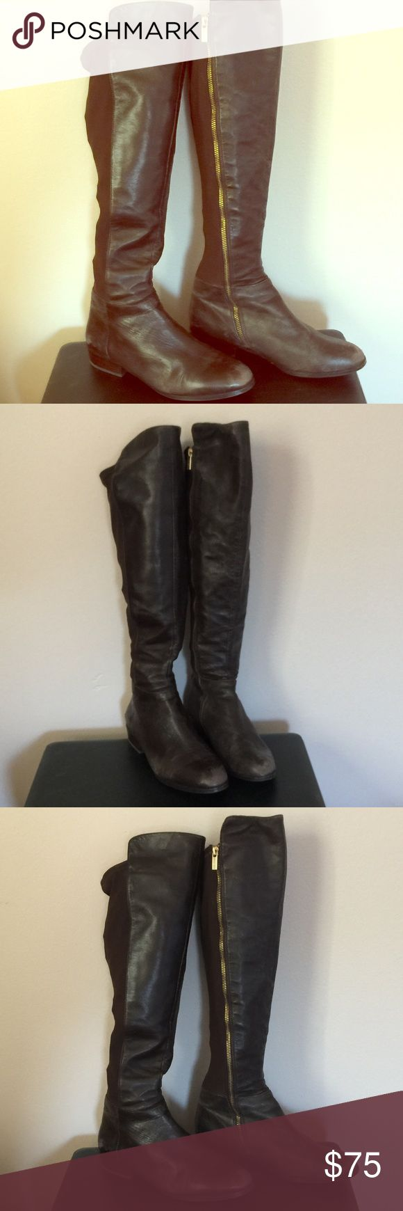 Michael Kors Brown Over Knee Leather Riding Boots Michael Kors riding boots in brown leather with elastic back. These boots have the Michael Kors logo on the bottom of shoes, and on the gold zipper. Worn, and have small signs of wear on the front and backs of shoes as shown. They are super soft, and alrhough they have been worn, they have tons of life left. Look great with jeans or leggings for the Fall/Winter. Size 8.5 and true to size. Michael Kors Shoes Over the Knee Boots