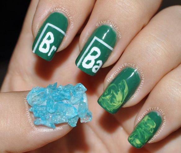 31dc2013 nail art challenge green breaking bad nails with rock candy as blue meth and a no water marble striping tape albuquerque New Mexico burque duke city