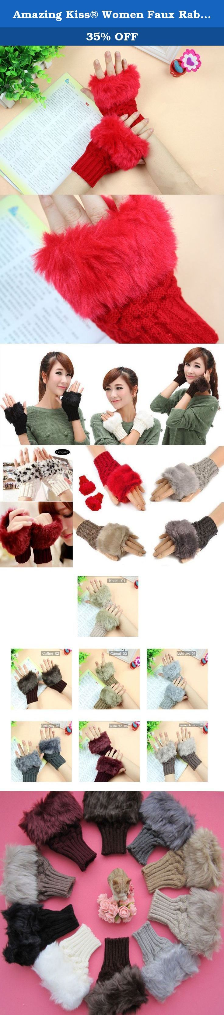 Amazing Kiss® Women Faux Rabbit Fur Hand Wrist Winter Warmer Knitted Fingerless Gloves New Fashion Winter Arm Warmer Fingerless Gloves Knitted Fur Trim Gloves Mitten (Red 01). Specifications: Material: Faux Wool + knitted Colour: As pictures showing Red 01 Khaki 02 Black 03 White 04 Coffee 05 Light Gray 06 Wine 07 Dark Gray 08 Camel 09 Size: 13cm*9cm(Width)/5.11''*3.54'' Weight: 45g Package includes: 1 pair x Gloves ATTENTION: 1.It may have little color difference according to different...