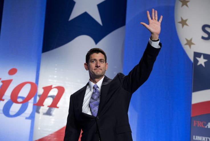 UNITED STATES - SEPTEMBER 14:  Rep. Paul Ryan, R-Wis., Vice Presidential candidate, waves to the crowd after addressing the Values Voter Summit at the Omni Shoreham Hotel in Woodley Park.  Photo By Tom Williams/CQ Roll Call) via @AOL_Lifestyle Read more: http://www.aol.com/article/news/2016/11/10/paul-ryan-uses-trump-s-slogan-during-remarks/21603579/?a_dgi=aolshare_pinterest#fullscreen