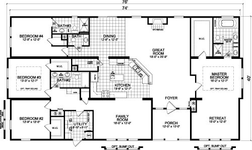 Love this floor plan...with some adjustments. Make bathroom in BR#4 fully accessible by combining with 1/2 bath to add space.