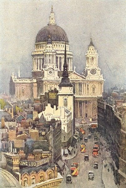 St. Paul's and Ludgate Hill, London, 1920 by Ernest William Haslehust (English 1866 -1949)   Posted by www.futons-direct.co.uk