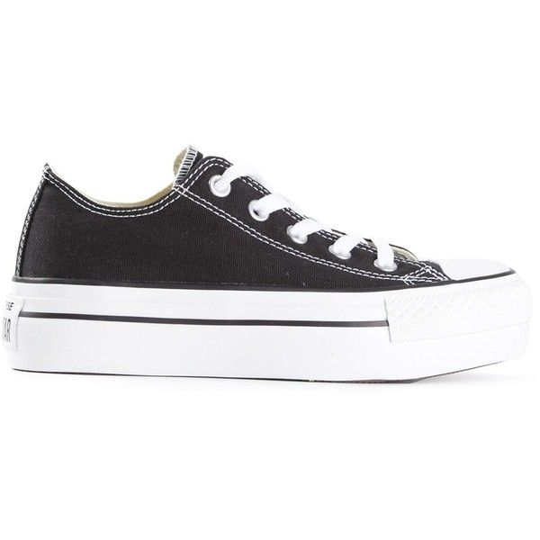 Converse - lace up trainers - unisex - Cotton/rubber - 37 (2,455 MXN) ❤ liked on Polyvore featuring shoes, sneakers, black, black sneakers, laced sneakers, lace up shoes, lace up sneakers and converse sneakers