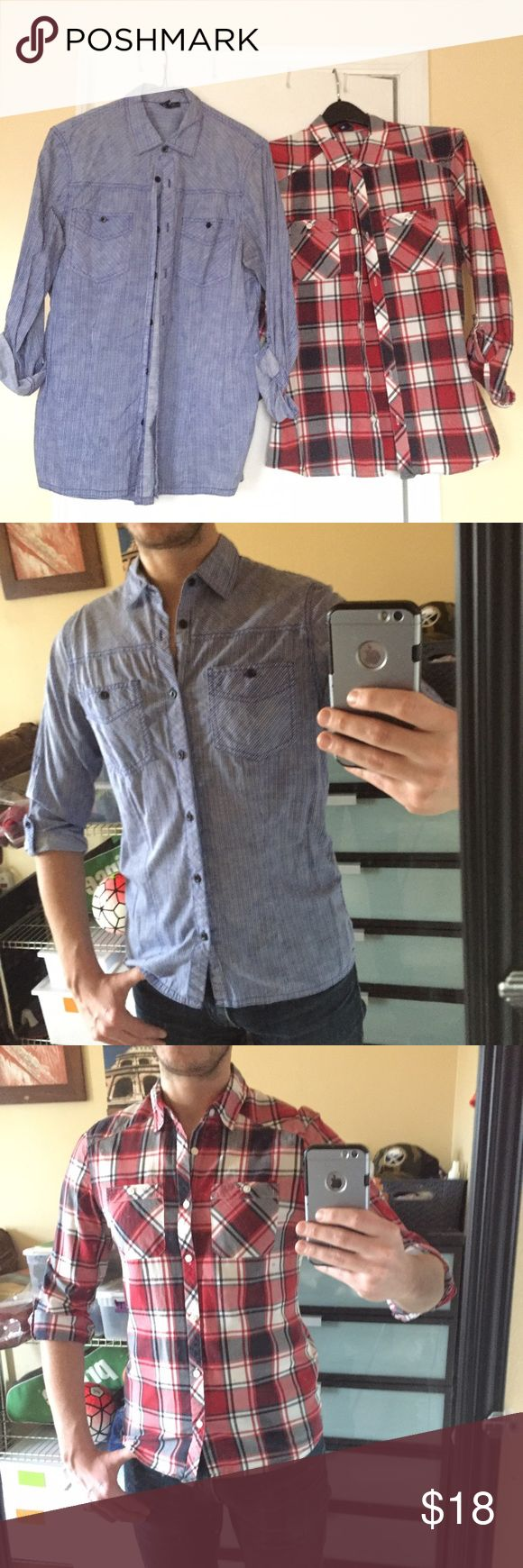 2 Men's Casual Button Down's Selling together....2 men's H&M casual Button down's in size Small. Both are used but in great condition....no holes, tears, stains. See pic's...great slim fits! H&M Shirts Casual Button Down Shirts