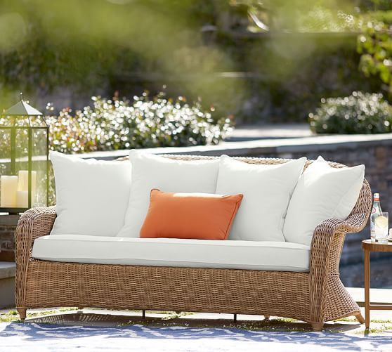 Torrey All Weather Wicker Roll Arm Sofa   Natural | Pottery Barn 77