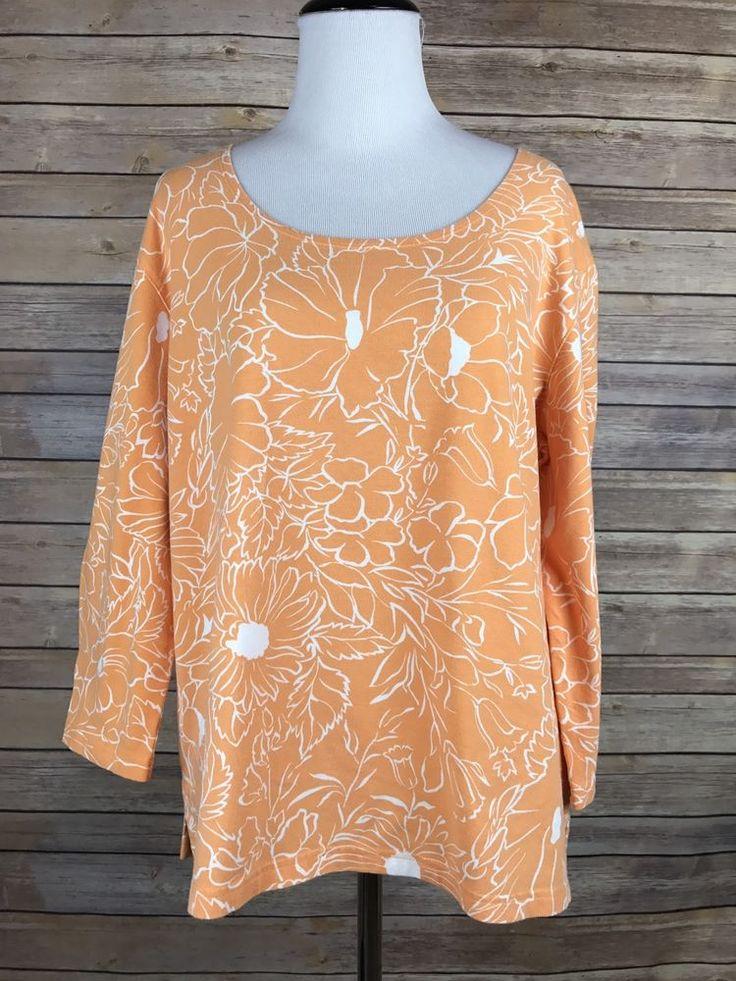 Talbots Women's Orange White Floral Design Long Sleeve Tee Shirt SZ XL    eBay