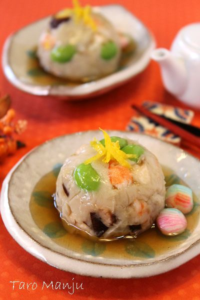 Japanese food / しいたけと海老の里芋まんじゅう