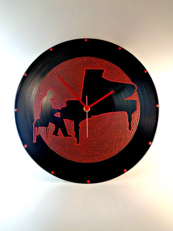 Classical Pianist Vinyl Clock Hand Painted Dark by InsaneDotting