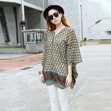 Pregnant Women Maternity V Neck Batwing Loose Chiffon T-Shirt - US$14.99 sold out