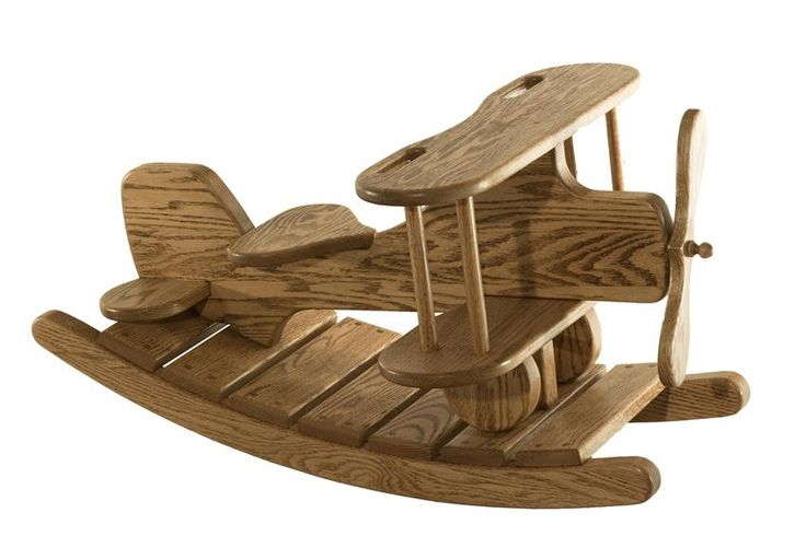 Amish Oak Wood Airplane Rocker It's time for take off on this solid wood airplane rocker!