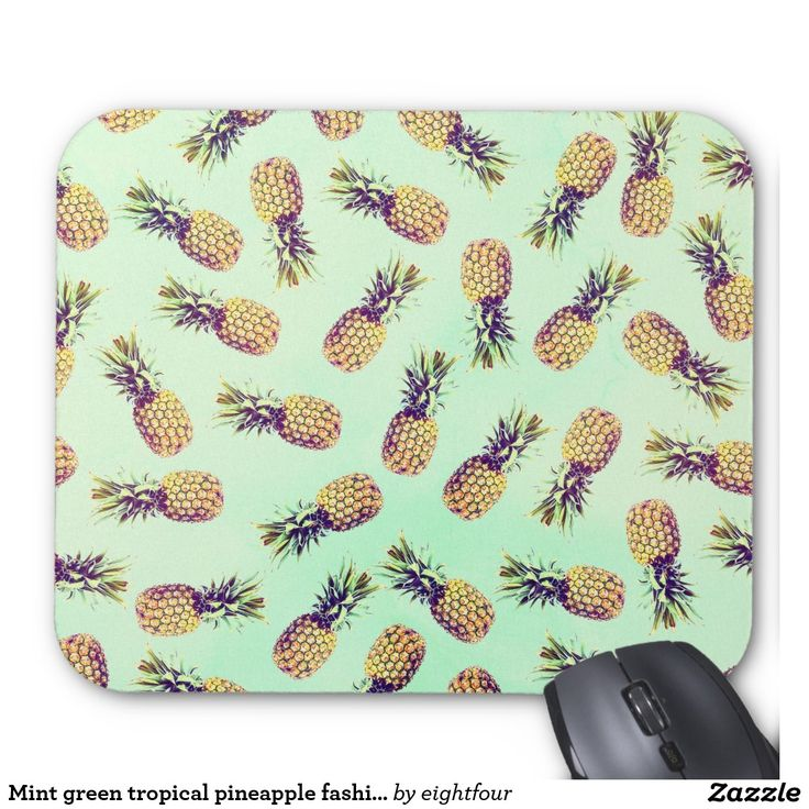 Mint green tropical pineapple fashion pattern mouse pad....yummy!