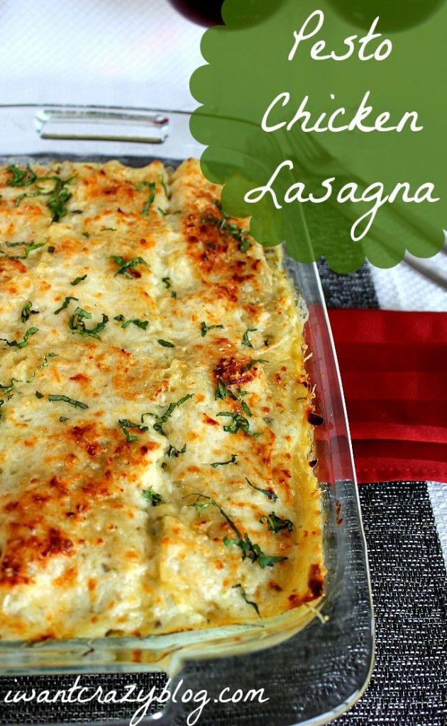 Pesto Chicken Lasagna New twist on the classic comfort food, delicious! #lasagna #pesto #chicken