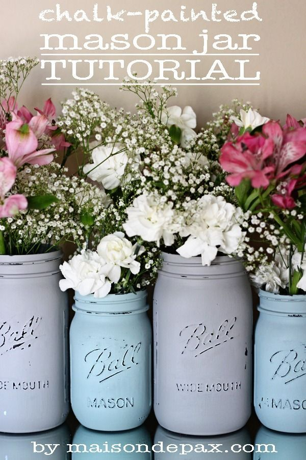 Pretty chalk painted mason jars are great accents to your decor and perfect vases for flowers. This DIY tutorial will definitely be added to our project list!