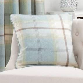 Highland Duck-Egg Check Cushion