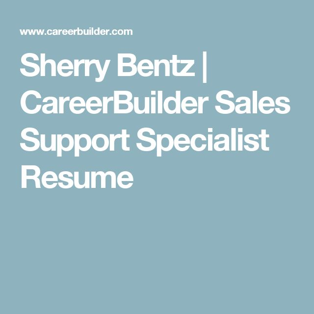 Sherry Bentz CareerBuilder Sales Support Specialist Resume - careerbuilder resume