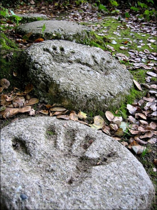 Stepping stones with children's handprints