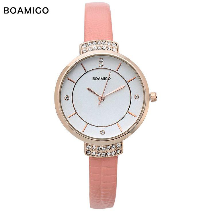 boamigo women watches woman quartz dress watches Ladies bracelet fashion Watch delicate Leather rhinestone Watches Waterproof //Price: $12.95 & FREE Shipping //     #hashtag1