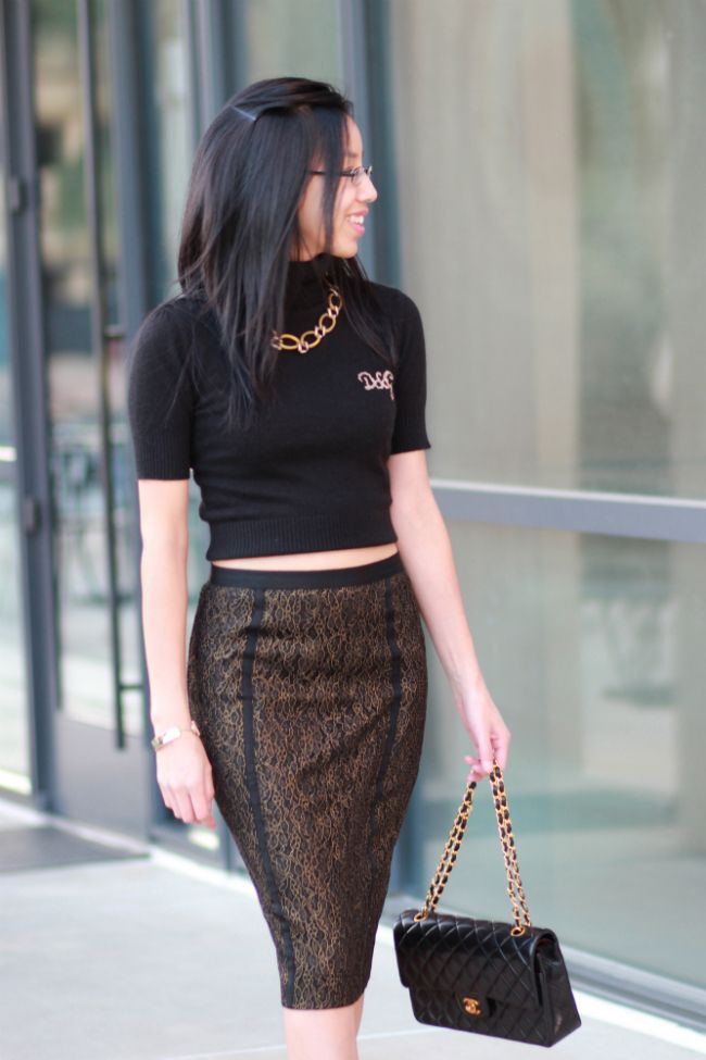 metallic lace floral pencil skirt