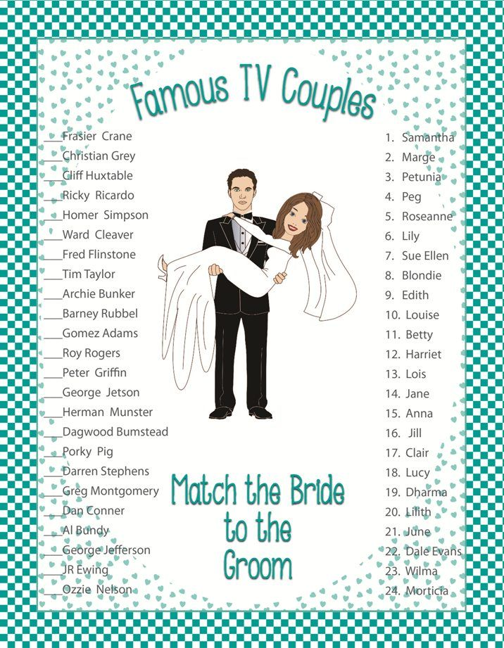 """Bridal Shower Game  """"Famous TV Couples"""""""