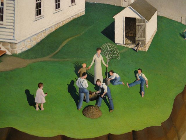 Grant Wood: Arbor Day (1932) - detail by jimforest, via Flickr