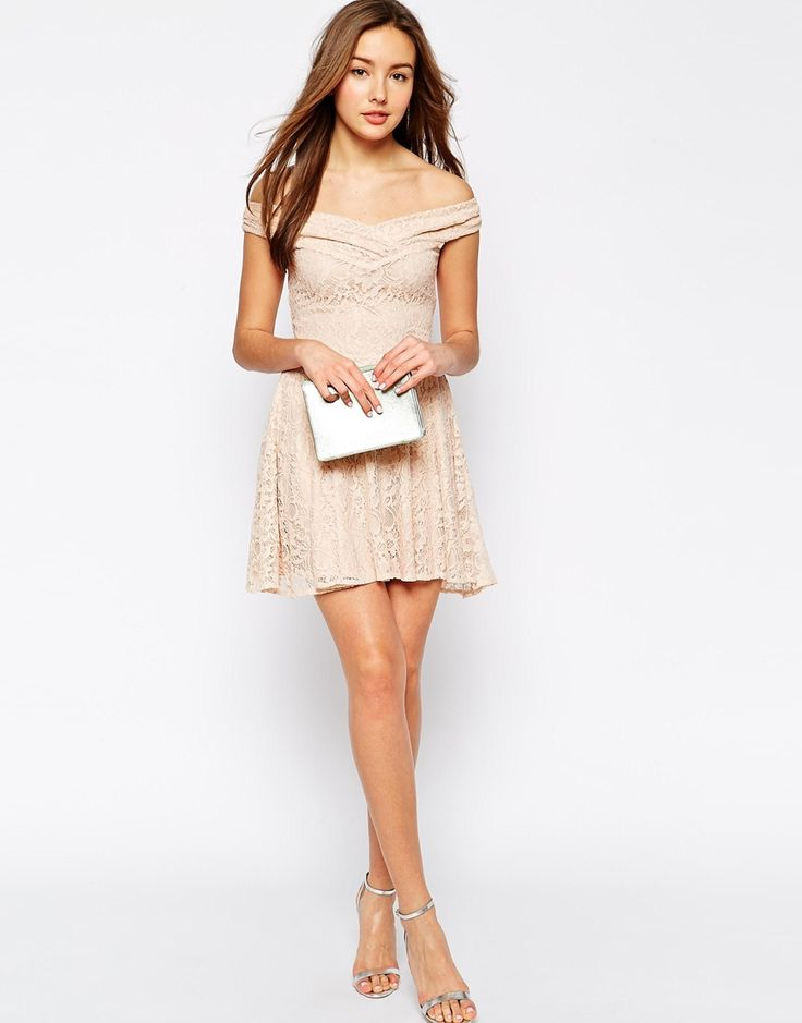 Image 4 ofLipstick Boutique Hattie Off Shoulder Lace Dress with Flared Skirt