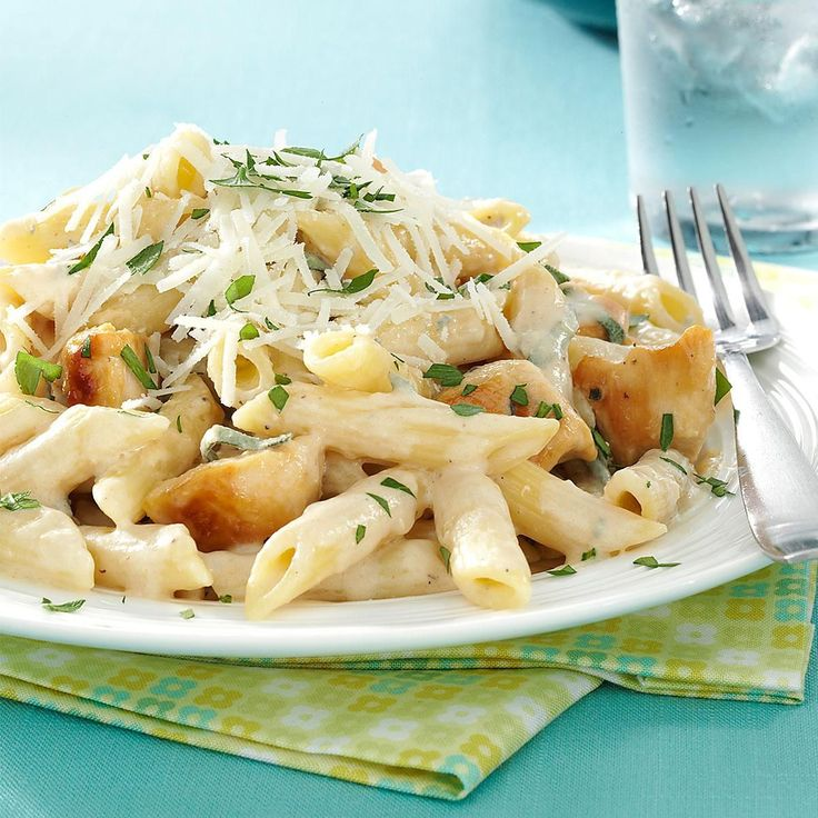 Penne Gorgonzola with Chicken Recipe -This rich, creamy pasta dish is a snap to throw together for a weeknight meal but special enough for company. You can substitute another cheese for the Gorgonzola if you like. —George Schroeder, Port Murray, New Jersey