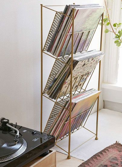 Vintage-style record storage racks at Urban Outfitters